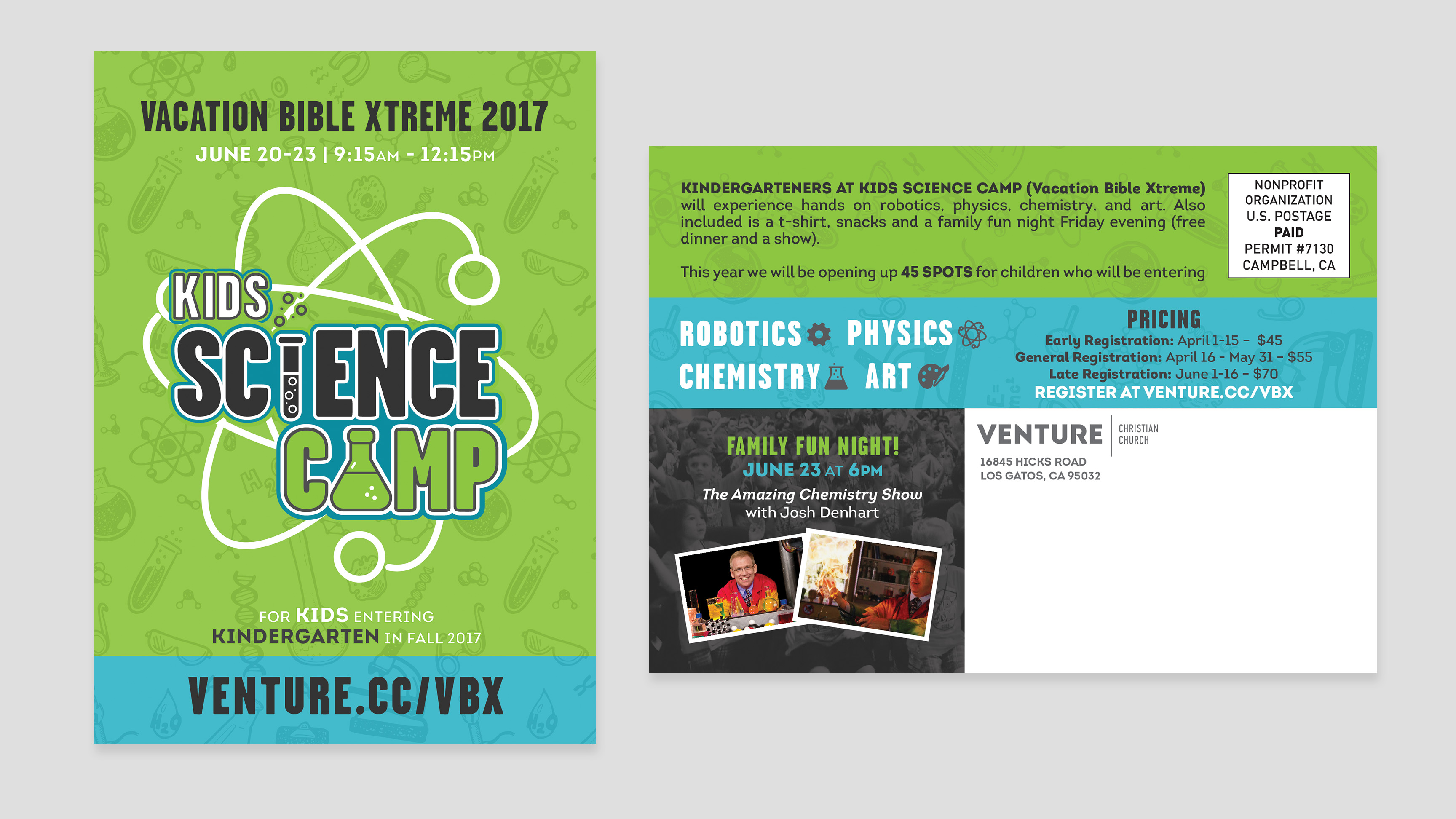 Vacation BIble School/ VBX Kids Science Camp Postcard Branding and Graphic Design