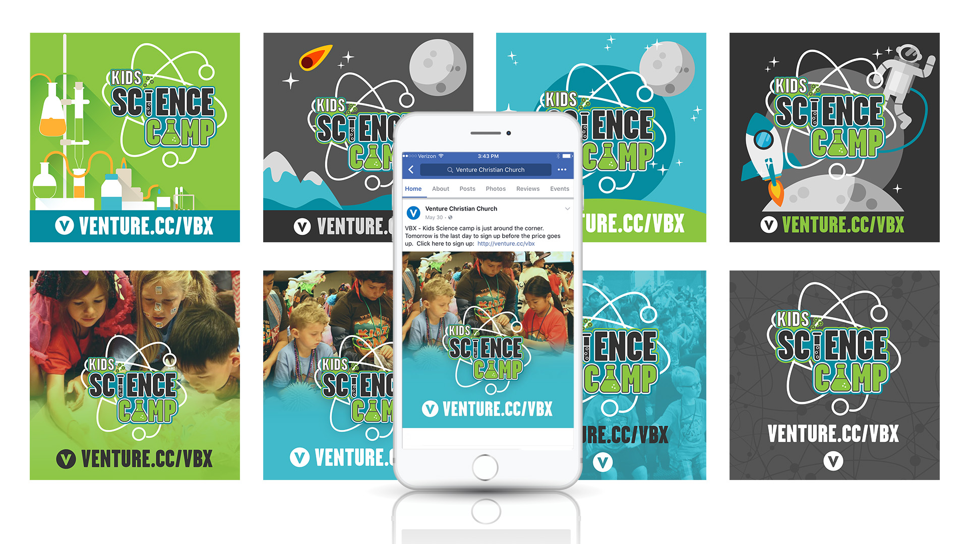 Kids Science Camp 2017 - Vacation Bible School VBS VBX Social Media Graphic Design