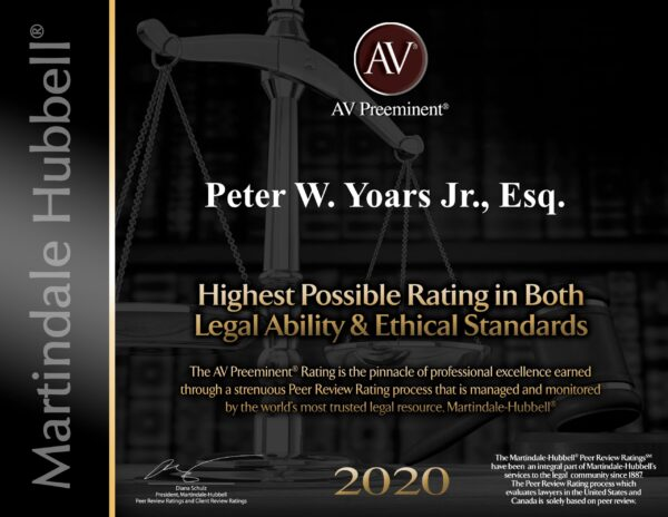 New York 2020 Martinedale Hubbell Highest Possible Rating in Both Legal Ability and Ethical Standards
