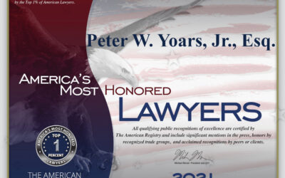 Peter W. Yoars Jr., Esq. Has Been Recognized Again for being in Top 1% of US Attorneys