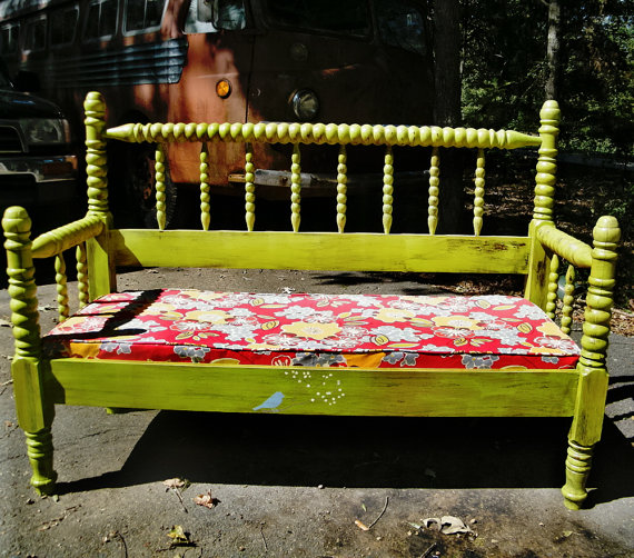 Bench Vintage Spindle Bed Upcycled with Upholstered Cushion in Designer Fabric