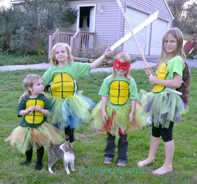 DIY Girls Ninja Turtle Costumes