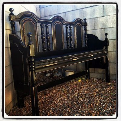 Great Gothic style headboard recycle bench