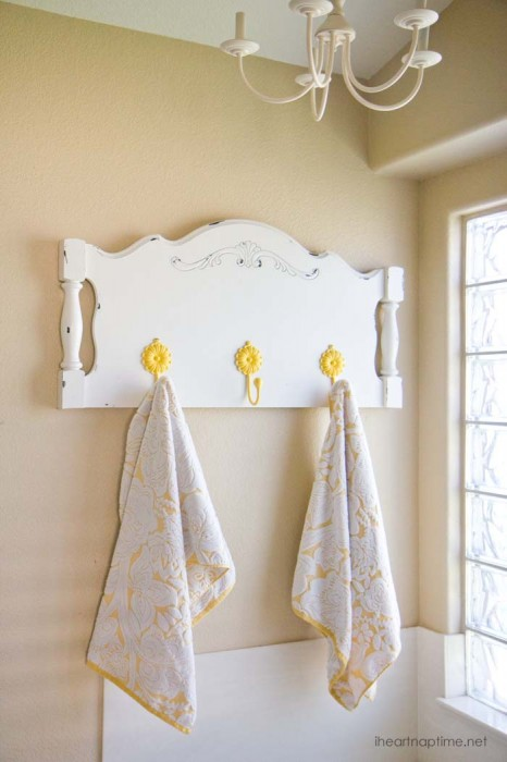 Headboard towel holder DIY project