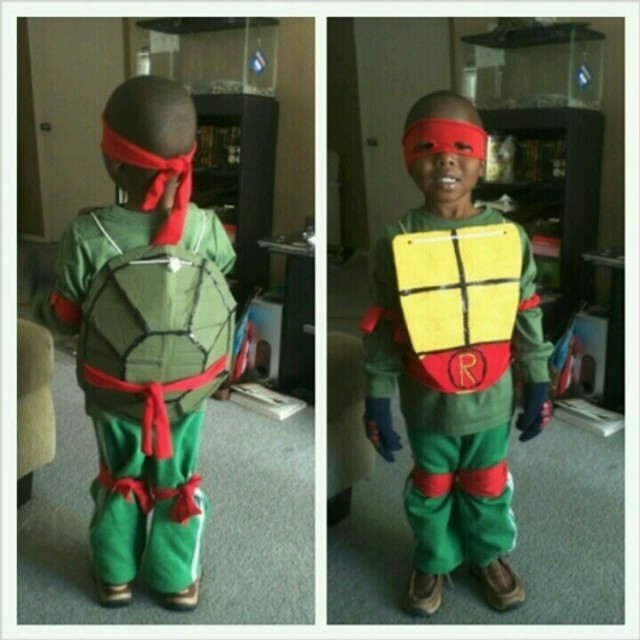 Homemade ninja turtle costume