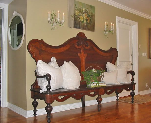 antique headboard into a lovely bench