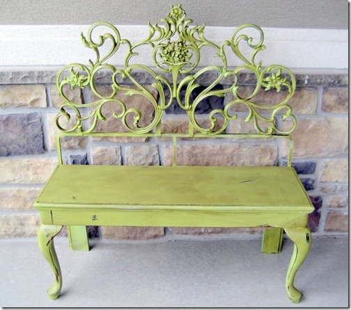 cool headboard green bench