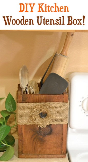 DIY-Wooden-Utensil-Box-with-burlap-flower