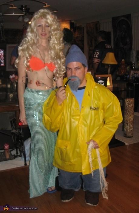 fisherman and mermaid DIY halloween costume idea