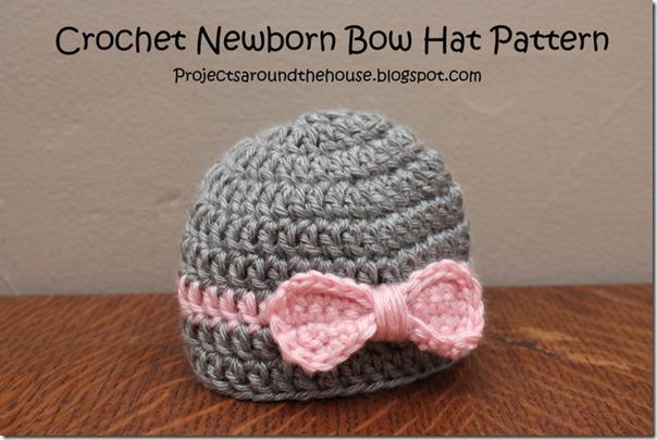 Crochet Newborn Bow Hat Pattern ProjectsAroundTheHouseBlogspot