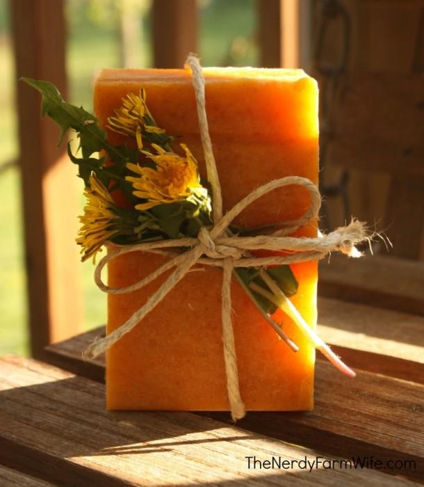 Dandelion-and-Raw-Honey-Soap-892x1024  thenerdyfarmwife