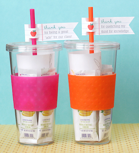 water glasses for teacher appreciation gift