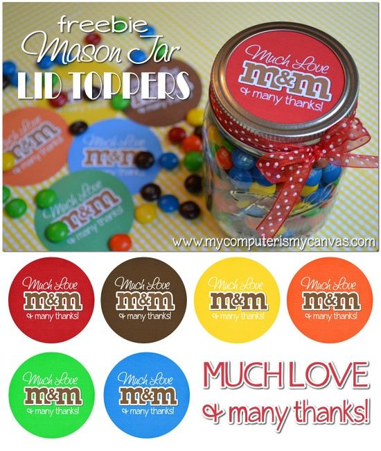 Free M&M Mason Jar Thank You Printable