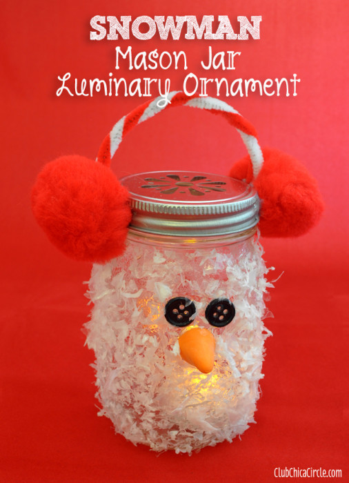 Snowman Luminary Mason Jar