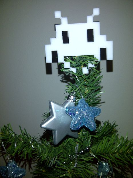 3D Space Invader Christmas Tree Angel