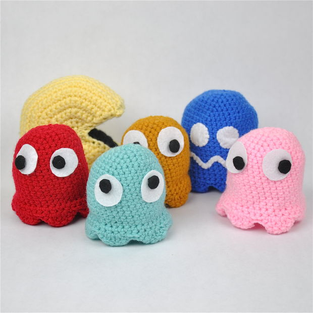 Crochet Pac Man and Ghosts
