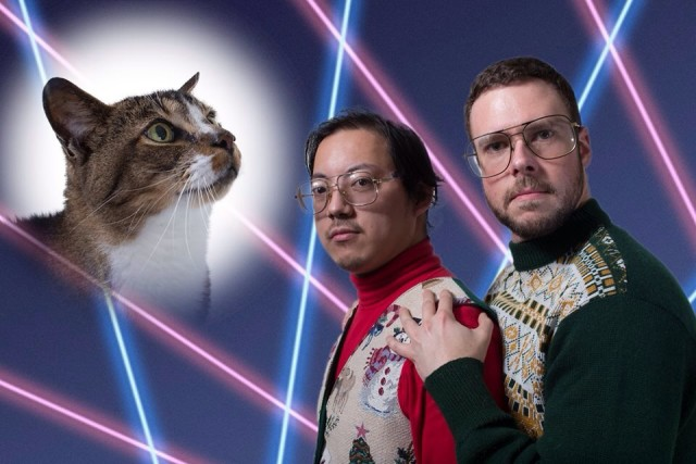 Laser and Cat Christmas Card