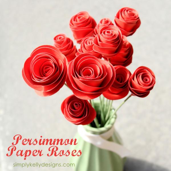 Persimmon Paper Roses