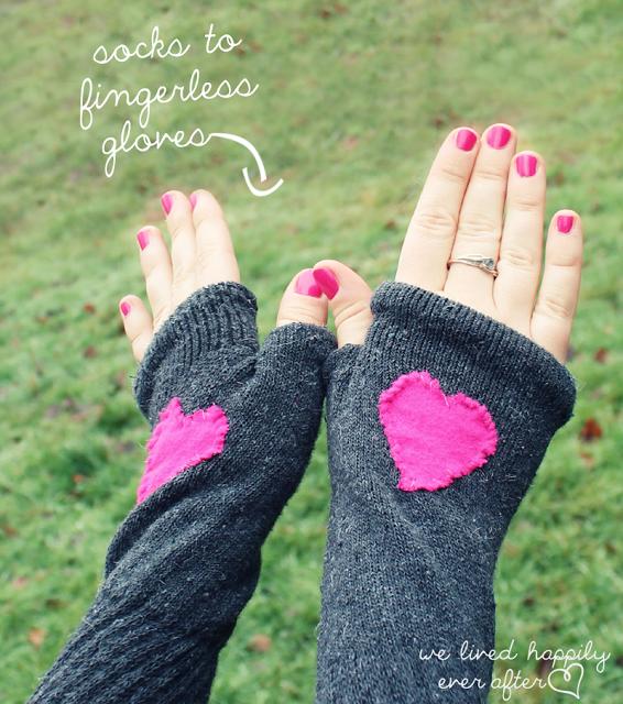 Fingerless Gloves Made From Socks