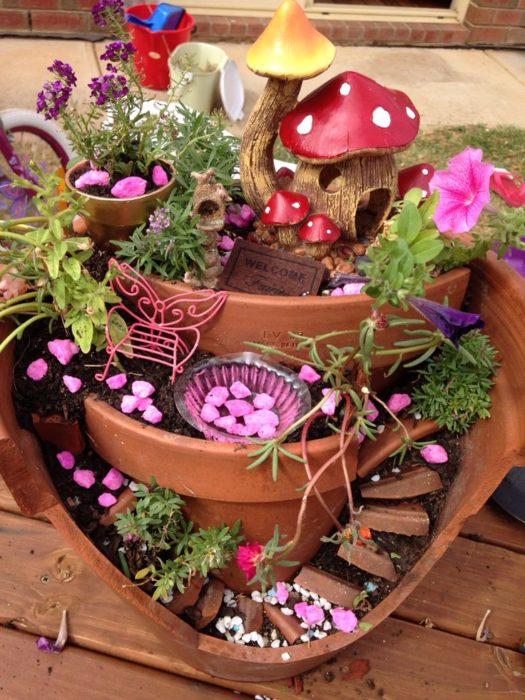 How to Make a Broken Clay Pot Fairy Garden