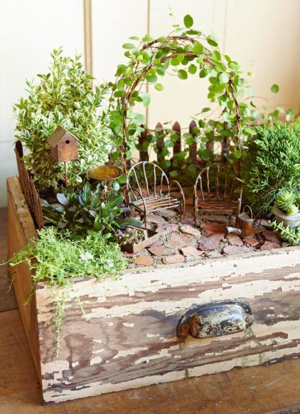 Old Drawer Fairy Garden