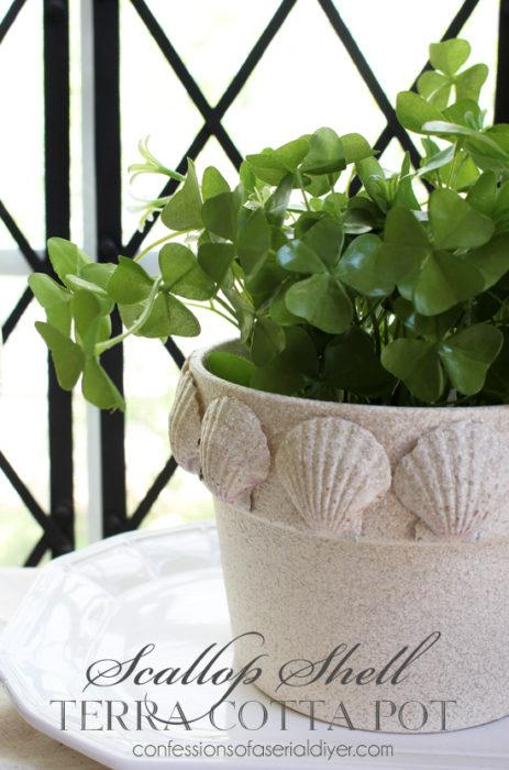 Scallop Shell Terra Cotta Pot