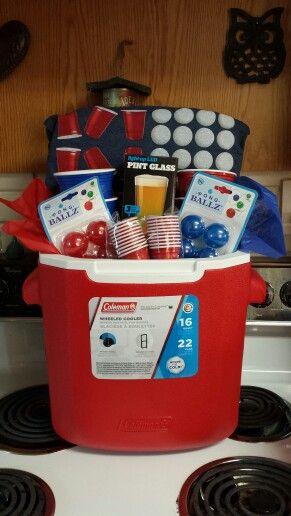 Beer Pong Cooler Gift Basket