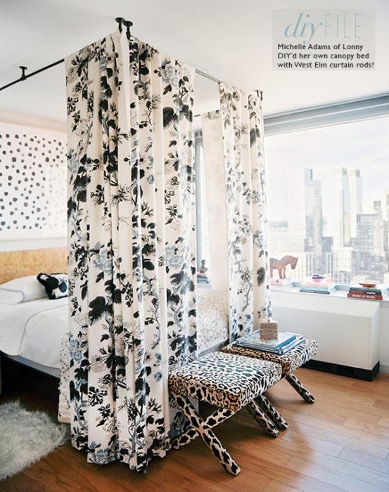 DIY File Curtain Rod Canopy Bed