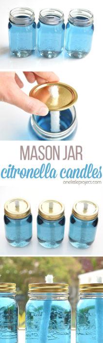 How to Make Mason Jar Citronella Candles