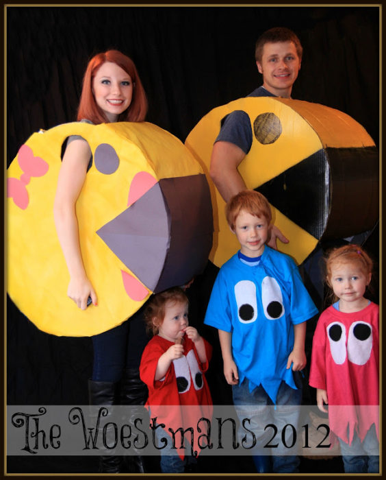 Mr and Mrs PacMan and Ghosts Family Costume