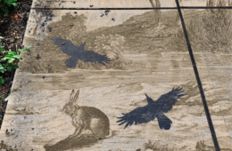 Composite image of a rabbit and birds