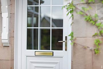 Close up shot of white panel door