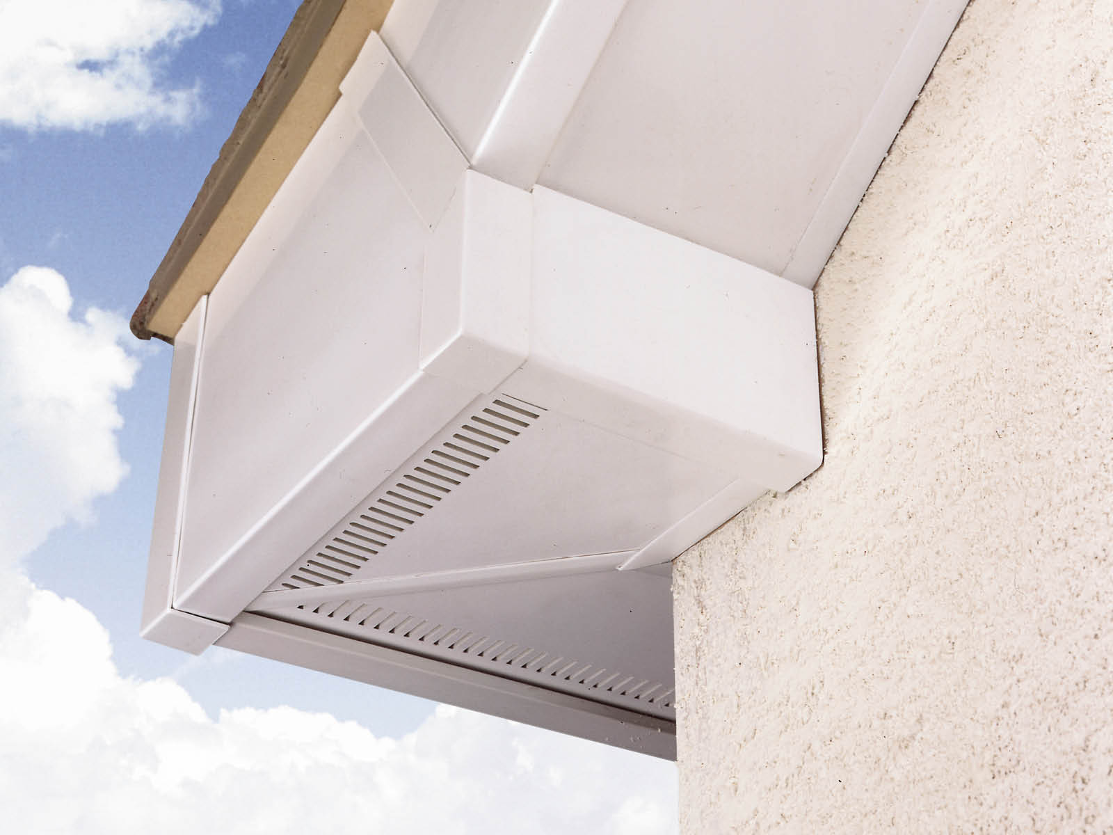 white roofline system guttering and showing ventilation