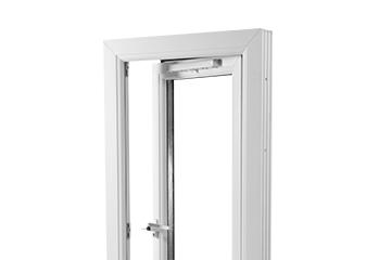 white casement window on white background