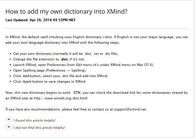 adding a new dictionary in XMind 7