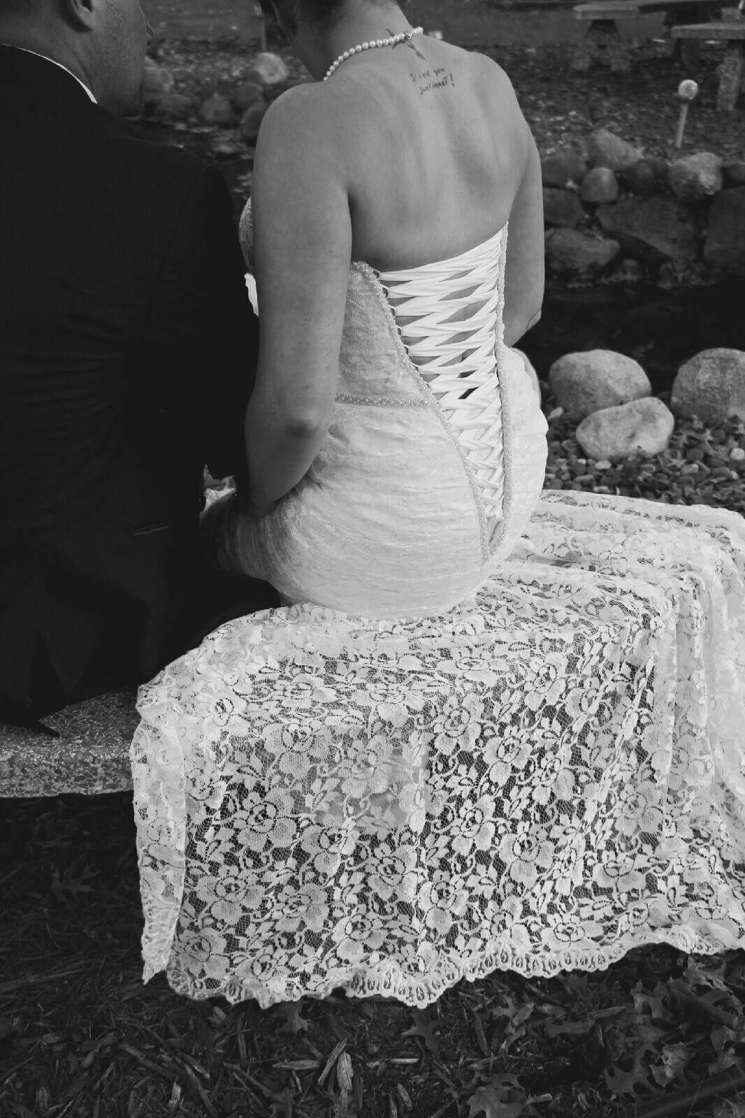 Romantic Tie Back Wedding Gown   JenMar Creations