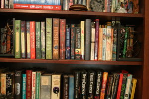 shelves filled with books