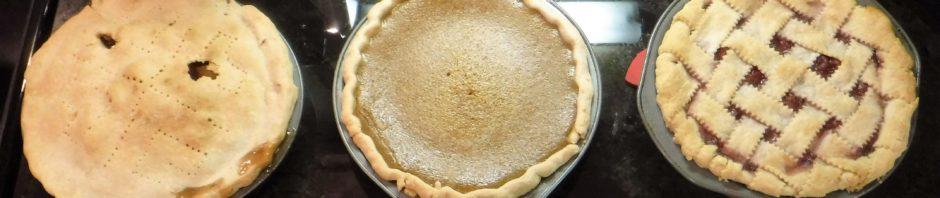 three homemade pies