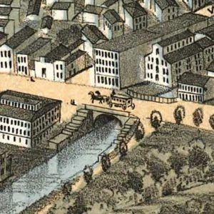 Historic map in muted tones, a city street with horsedrawn carriage, 1870s Dayton, Ohio