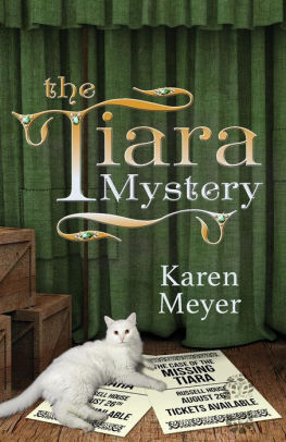 """1880s stage, cat, and fliers for """"The Case of the MISSING TIARA"""""""