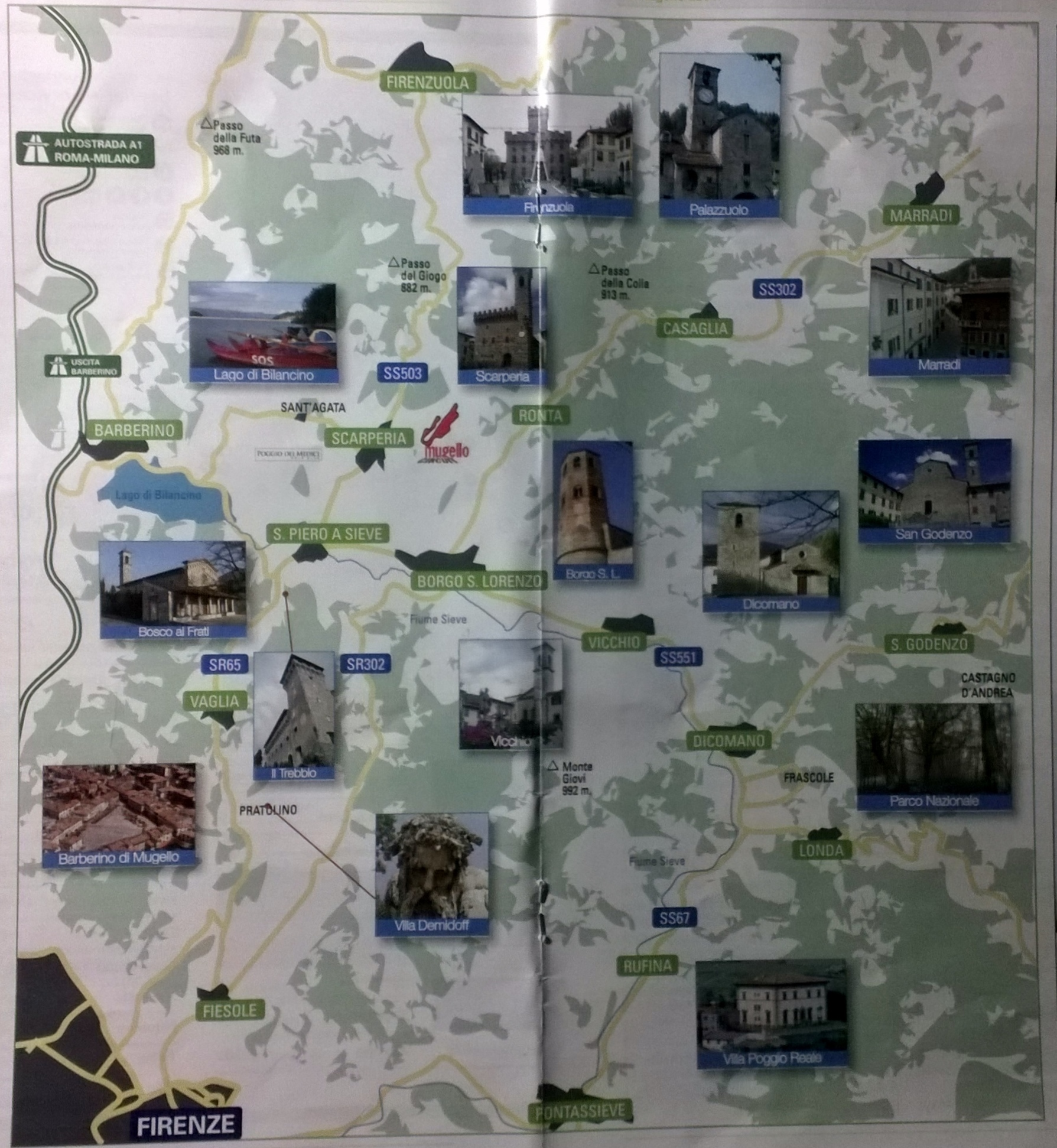 Kaart Mugello met belangrijkste stadjes en dorpen (klik op beeld voor groter formaat)
