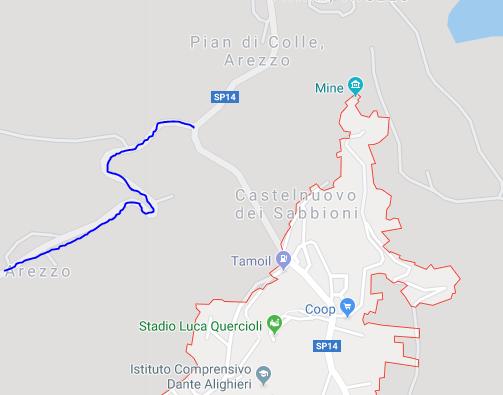 startplaats klim naar Valico del Morellino