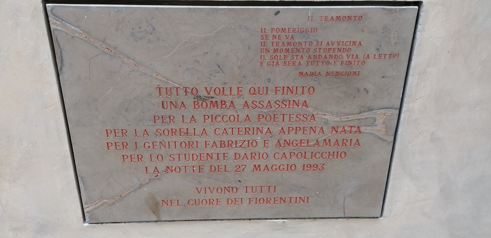 gedenkplaat aanslag mafia Florence
