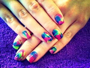 An eye-catching colorful manicure manicure at The Ritzz