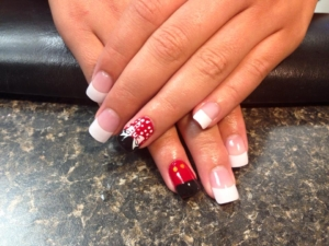 A manicure with bows at The Ritzz Salon in Billings, Montana