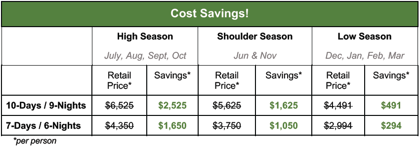 Brave Africa Cost Savings Table