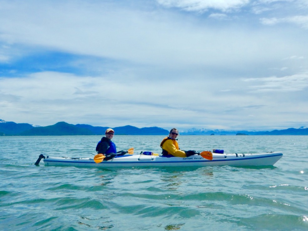 Photo of a couple in a tandem kayak in the Channel Islands Marine Park.