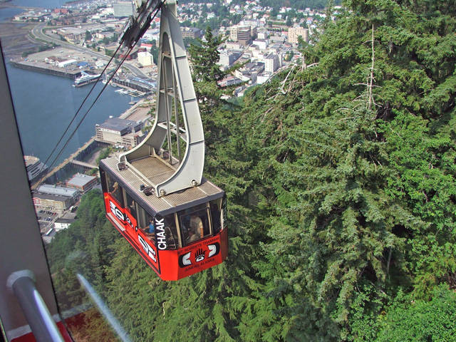 View of the Mt. Roberts Tram above downtown Juneau, Alaska
