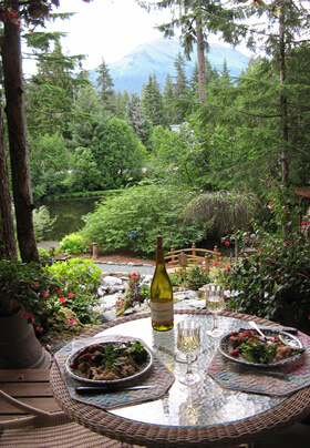 Photo of a lovely spot for dinner in the upper gazebo of the Pearson's Pond rain forest garden.