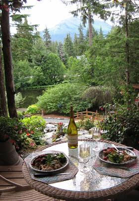 Photo of a lovely spot for dinner in the upper gazebo of the Pearson's Pond rain forest garden.